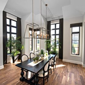 Dining area on hardwood flooring